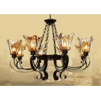 Wholesale Black 8 Light Home Decorative Wrought Iron Chandelier With Amber Glass Shade from china suppliers