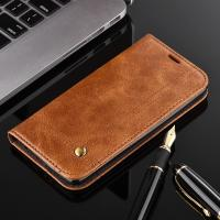 Magnetic Oily Protective LG Leather Case For LG K8 Flip Cover Brown Color