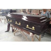 Wholesale Black walnut color european style wooden coffins , MDF coffin from china suppliers
