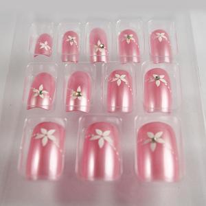 Wholesale 3D Diamond Light Pink Salon Fake Nails False NailsAcrylic / ABS Long False Nails from china suppliers
