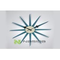Wholesale Multi Color Big George Nelson Blue Sunburst Decorative Wall Clocks with Wooden Arms from china suppliers