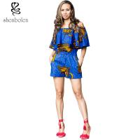 Wholesale Crop Top African Print Short Jumpsuit / Playsuit Beautiful Ankara Fabric from china suppliers