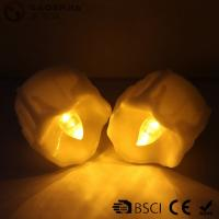 Wholesale Yellow Flickering Timing Flameless LED Tea Light Candles with Timer ,  Wax Dripped Battery Operated from china suppliers