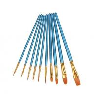 Wholesale 10Pieces Round Pointed Tip Nylon Hair Brush Set, Blue from china suppliers
