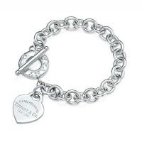 Wholesale Tiffany 925 Silver Heart Tag Toggle bracelet from china suppliers