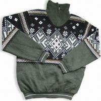 Wholesale Men's Outdoor Sweater, Made of Acrylic, Computer Jacquard Design from china suppliers