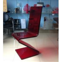 Wholesale Dining Room Modern Acrylic Furniture , Z Shape Transparent Red Acrylic Chair from china suppliers