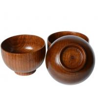 Wholesale Natural wood cutlery stripe rice bowl Large bowl A grade jujube wood level wooden bowl wooded bowl from china suppliers