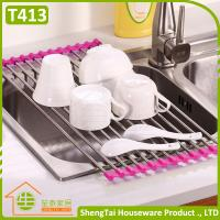 Quality Multi Color Fashion Stainless Steel Kitchen Draining Folding Dish Rack for sale