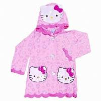 Wholesale Pink Hello Kitty Pvc Rain Coats With Hood , Kids Rain Wear from china suppliers