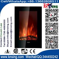 "Wholesale 23""Black Flat Tempered Glass Standing Wall Mounted Electric Fireplace Heater(Pebbles/log Fuel) flame effect EF490/EF491 from china suppliers"