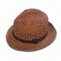 Wholesale Paper Straw Trilby with Ribbed Polyester Sweatband Inside, Various Colors are Available from china suppliers