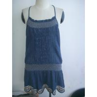 Buy cheap Bule Cotton Womens Casual Summer Dresses With Computer Embroidery from wholesalers