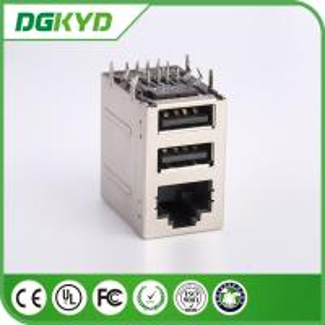 Quality KRJ -2USB083WDNL RJ45 USB Connector 2X1 RJ45 + 2 USB 6116151-1 Without Magnetics for sale