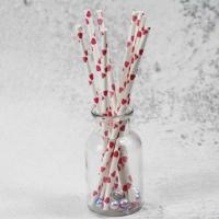 Quality 8mm small caliber pearl cocktail pink heart color Biodegradable Paper Drinking Straws for sale