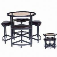 Wholesale Dining Set with PVC Cushion, Handcraft Paint and 8mm Top Toughened Glass from china suppliers
