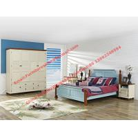Wholesale Mediterranean Leisure Style bedroom furniture in blue sky painting wood bed in European winery modelling from china suppliers