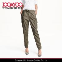 Wholesale Women's Wholesale Khaki Green Linen-blend Casual Cargo Pants from china suppliers