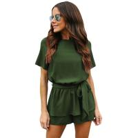 Wholesale Ladies Solid Color Cut-out Back Peplum Waist Romper from china suppliers