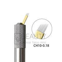 Wholesale 3D eyebrow Curve Needles Microblading Golden Hard Blades Embroidery PMU Microblades For Eyebrows from china suppliers