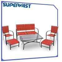 Wholesale Outdoor Steel Patio Furniture 6PC Garden Patio Cross Weave Strap Set with Ottoman from china suppliers