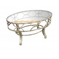 Wholesale Top Quality  Metal Decorative Framed Coffee Table With Tempered Glass Top Silver Finish Table from china suppliers