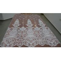 China Embroidered Guipure Beaded Lace Fabric Polyester On Nylon Mesh With Flower on sale