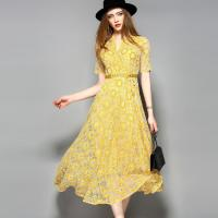Wholesale yellow hot sale women lace-up polyester lace dress from china suppliers