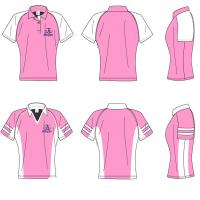 Wholesale Cotton Female White / Pink Short Sleeve Polo Shirts Customized Sportswear Jersey from china suppliers