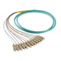 Wholesale 50 / 125 OM4 OM3 Optical Fiber Pigtail SC 12 Fiber Optic Jumper Cable With PVC Jacket from china suppliers