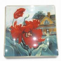 Wholesale Fruit Plate, Made of Toughened Glass, in Square Shape, Can Print Customer's Designs from china suppliers