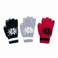 Wholesale Touch Screen Knitted Gloves, Made of 95% Acrylic and 5% Spandex from china suppliers