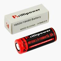 Wholesale Brillipower Black IMR 18500 1100 mAh 3.7V LI-MN Rechargeable Battery , BUTTON Top ,16.5A from china suppliers