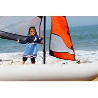 Wholesale 70KGS Inflatable Sailing Boat White Portable Pontoon Boats With 5m Mast from china suppliers