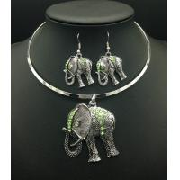 Wholesale Hot Selling Antique Silver Elephant Pendant Charm Necklace Earring Jewelry Sets For Women from china suppliers