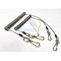 China Strong Anti - Drop Spring Steel Coil Tool Lanyard In Transparent Black Color on sale