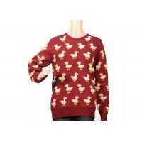 China Ladies Crew Neck Red Mohair Sweater Jacquard 9 Gauge Cute Duck Knitted Pattern for sale