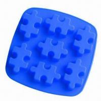 Wholesale 7-cell Blue Jigsaw Puzzle Silicone Bake Ware Cake Mold/Soap Chocolate Mold Resin from china suppliers
