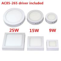 Wholesale Free shipping 9W/15W/25W Round/Square Led Panel Light Surface Mounted Downlight lighting Led ceiling down AC 110-240V + from china suppliers