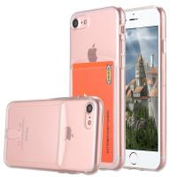 Pink Ultra Slim Thin Apple Cell Phone Cases Crystal TPU With Card Slot SGS