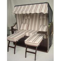 Wholesale Outdoor Garden Dark Brown Roofed Wicker Beach Chair & Strandkorb With Cushion from china suppliers