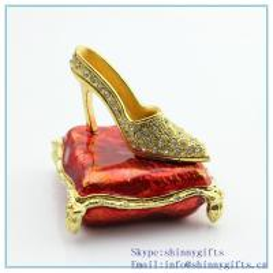Quality Enamel handmade metal trinket box with high-heeled shoes shape jewelry box for sale