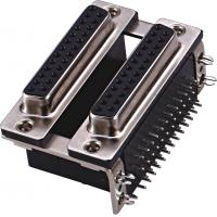 Wholesale Female Dual Row 25 Pin D Type Connector / D Shaped Connector PBT black ROHS from china suppliers