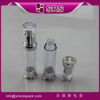 Wholesale SRS 2015 Newest design plastic round transparent luxury empty 15ml 20ml 30ml serum bottle from china suppliers