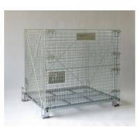 Quality Collapsible Wire Mesh Container Rolling Metal Storage Cage With Wheels for sale