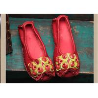 Wholesale Red Fancy Slippers womens leather loafers With Lovely flowers , slip on loafers from china suppliers