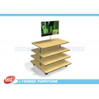 Wholesale Customize MDF Wooden Gondola Display Stands Retail Fixtures With 4 Layers from china suppliers