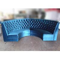 Wholesale Blue Velvet Restaurant Booth Furniture , Fully Upholstered Half Moon Sofa Booth from china suppliers