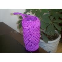 Wholesale Purple Crochet Cup Cozy With Handles / Polyester Crochet Drinking Glass Covers from china suppliers