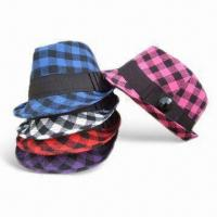 Wholesale Checked Polyester Woven Fabric Ladies Fedoras/Hats, PMMA Decoration, Various Colors are Available from china suppliers